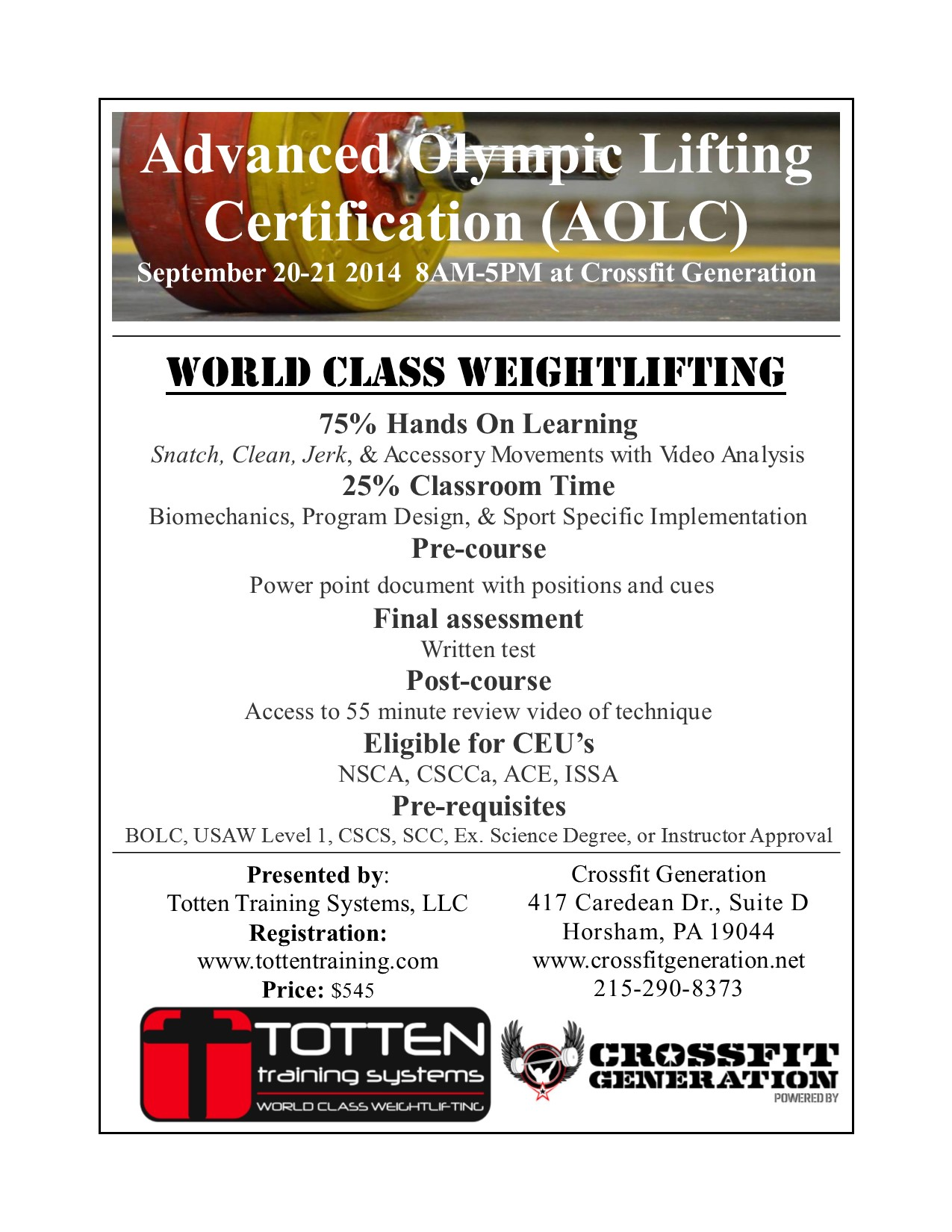 advanced olympic lifting certification crossfitgeneration